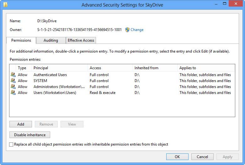 advanced security settings for skydrive