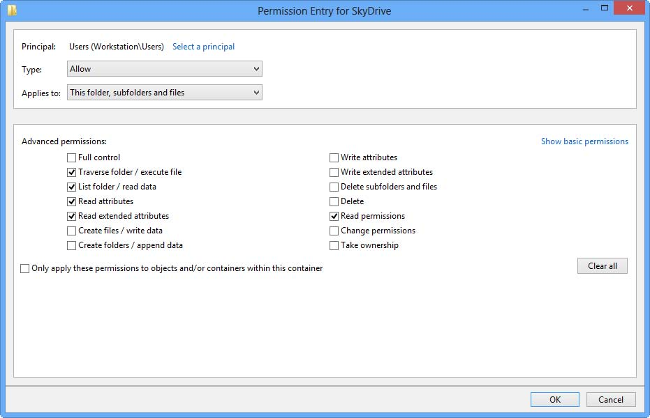 permission entry for skydrive