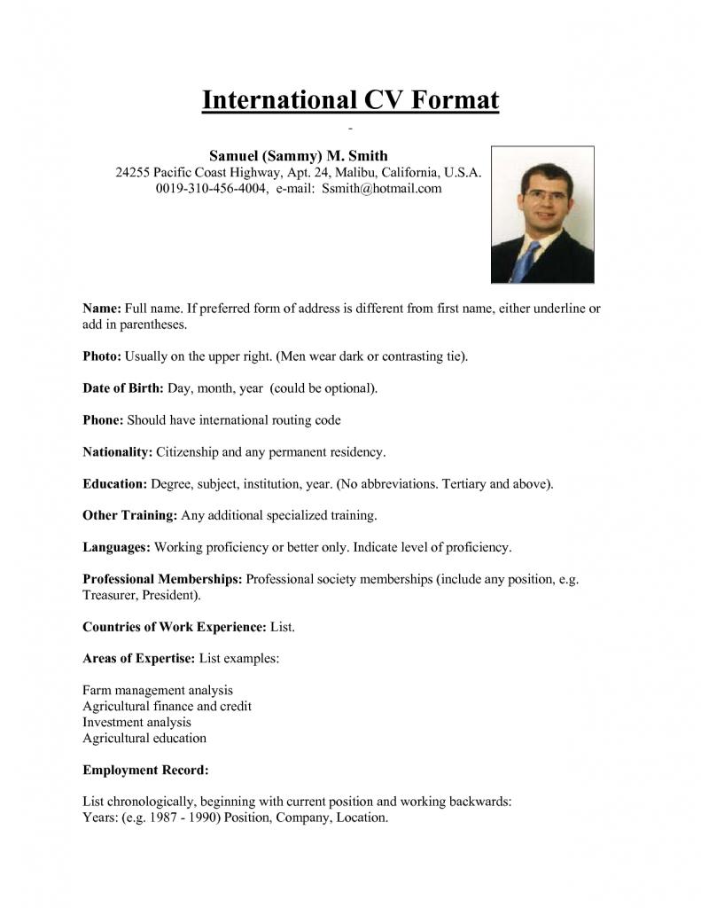 international-CV example