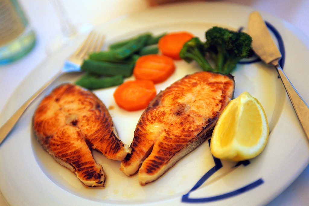healthy meal with fish and vegetables