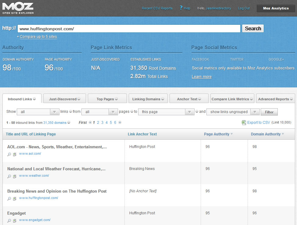 Example of data Moz' OpenSiteExplorer can provide.
