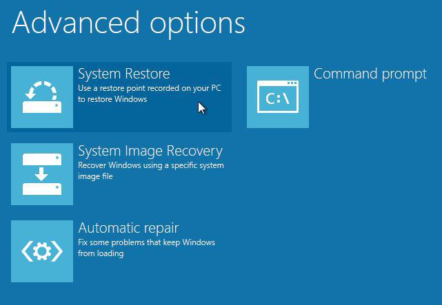 Using System Restore to Revert Windows 8 to a Previous State