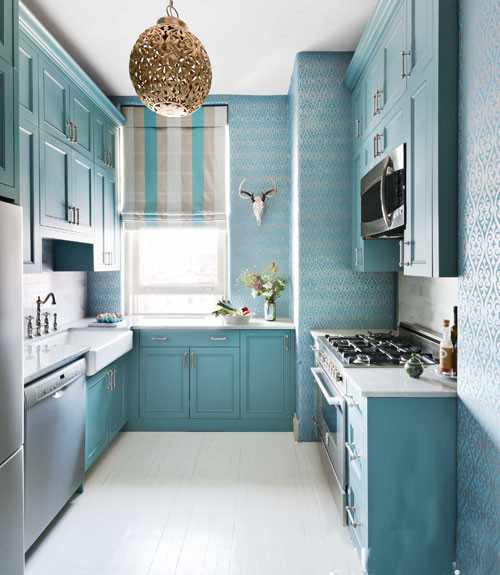 Small Kitchen in Blue