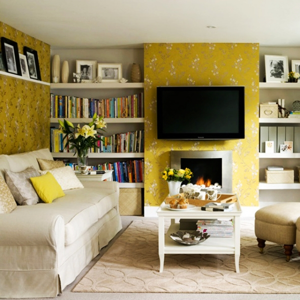 Yellow Living Room and black TV