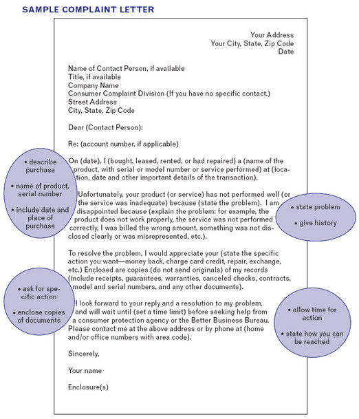 bad customer service complaint letter sample