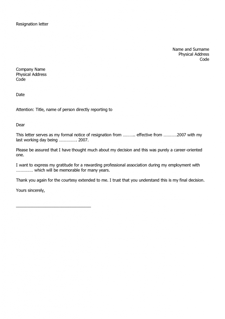 how to write a resignation letter example