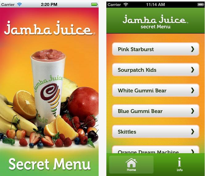 jamba juice secret menu iphone app