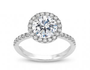Diamond Engagement Ring Round Halo Setting in 18K White Gold