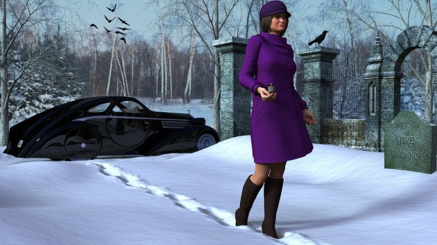 Woman in purple coat at funeral