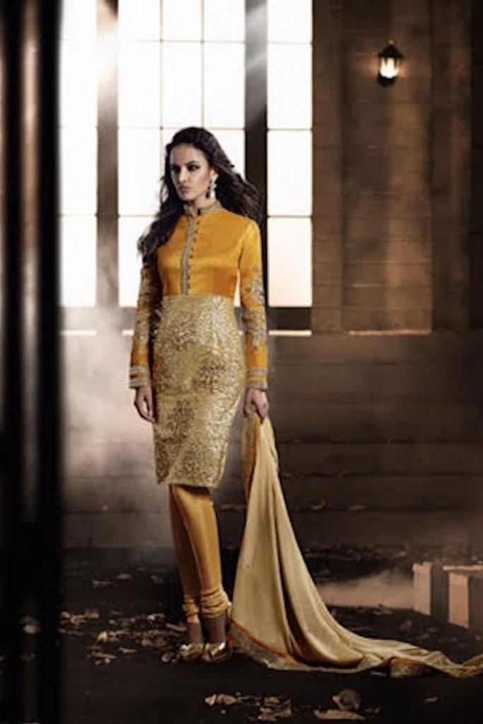 Heroine bhagalpuri gold straight cut style suit-kaseeshonline