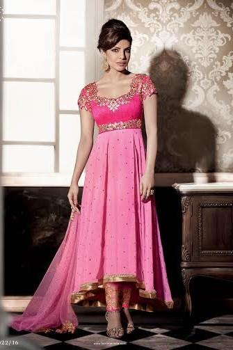 Priyanka chopra ,pink georgette anarkali style dress-kaseeshonline