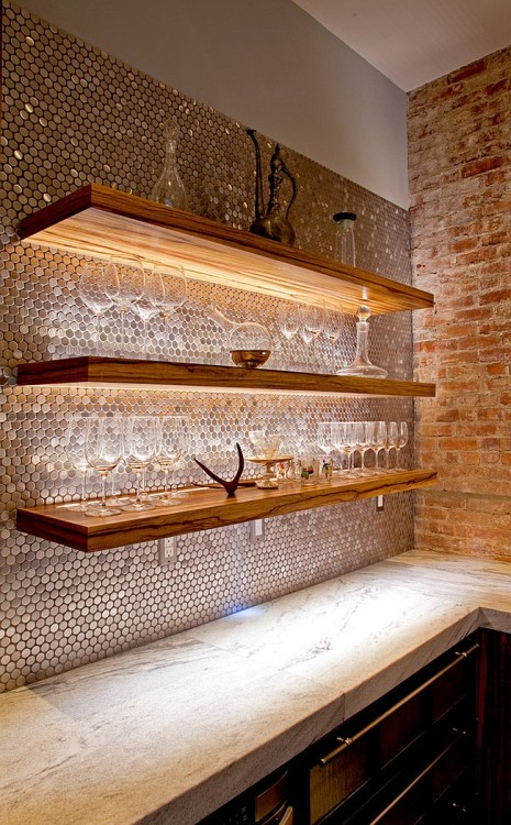 penny tile bar wall