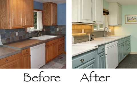 Painted Kitchen Cupboards Before And After great kitchen renovation tricks