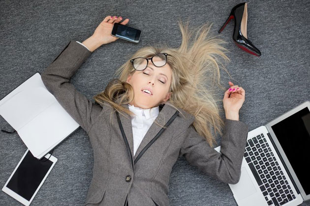 overworked businesswoman burnout