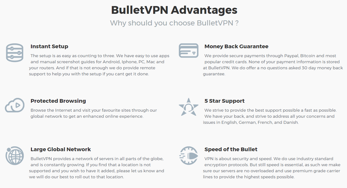 BulletVPN advantages